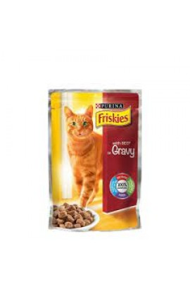Purina Friskies Beef in Gravy Wet Cat Food Pouch 85g
